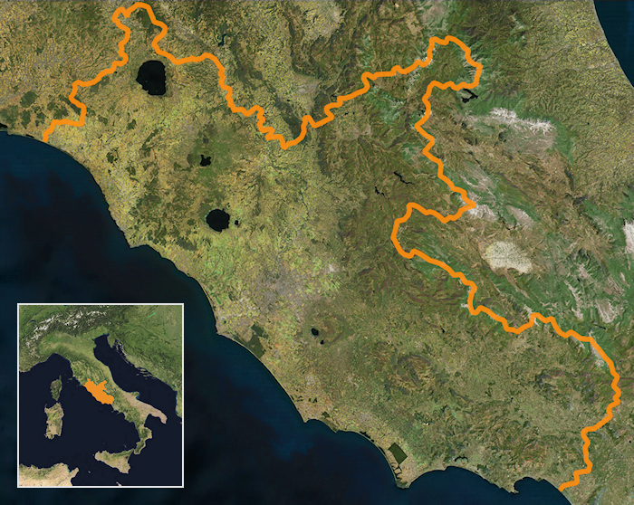 satellite view of the Lazio region