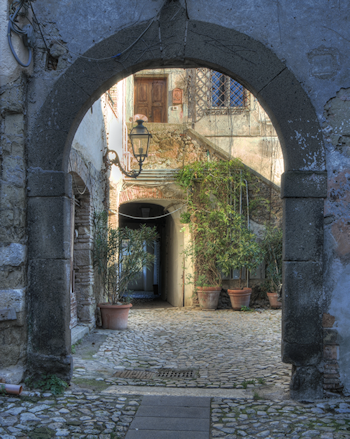 An archway and courtyard on the Rocca